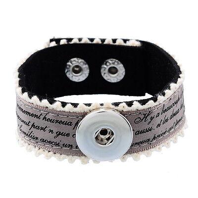 1 Bracelet Tissu Motif Lettre Pour Bouton Pression Click 22.5x2.3cm M3826
