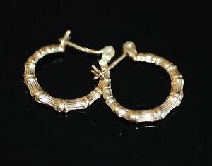 Classic-Trendy-14k-Yellow-Gold-Bamboo-Style-Hoop-Snap-Bar-Earrings
