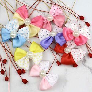 50-100-Pearl-Satin-Ribbon-Bows-Flower-Appliques-sew-Craft-Decor-hair-clip-making