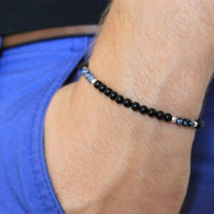 MEGBERRY-Mens-Bracelet-Natural-Black-Onyx-Obsidian-beads-925-Sterling-Silver