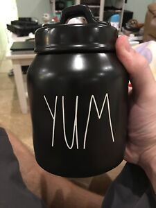 RAE-Dunn-YUM-Ceramic-Canister-BLACK-Small-with-Sealed-LID-LL-Magenta-NEW-HTF-NR