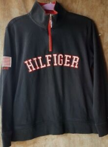 Details about Tommy Hilfiger Spell Out Half Zip Flag Logo Pullover SZ M Knit Top