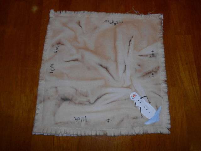 "IN THE MEADOW Snowman Handpainted Prim Candle Mat 10"" square *Free Ship"