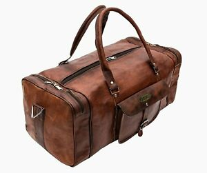 Details About Men Women S Brown Travel Bag Luggage Genuine Leather Duffel Handmade