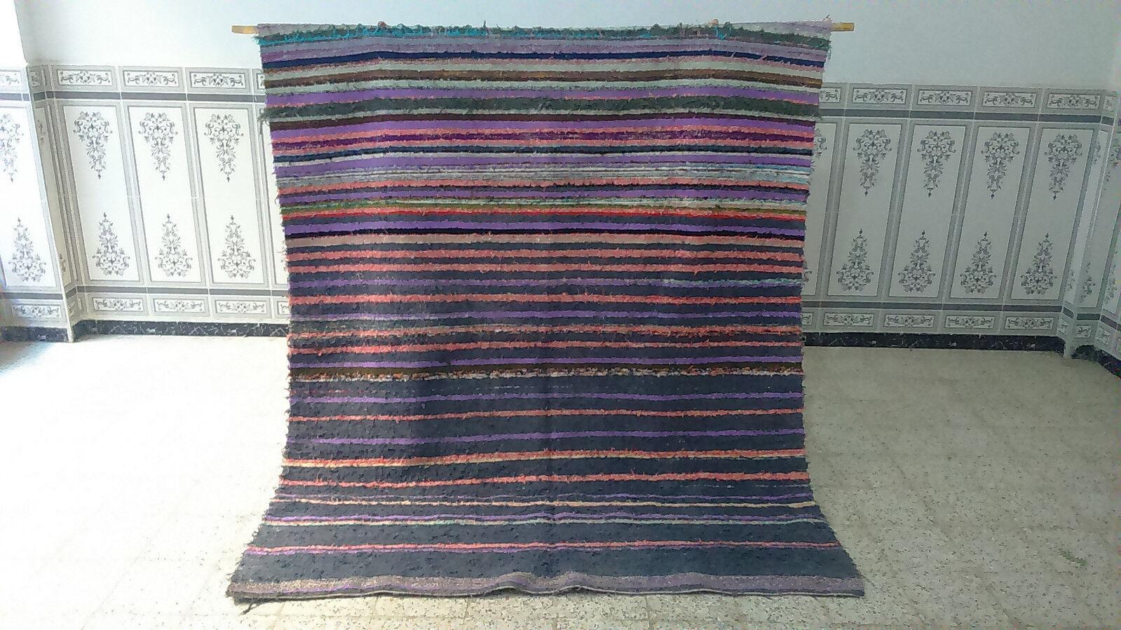 Boucherouite MGoldccan Handmade Cotton Fabric rug Berber rug 6' x 7' carpet