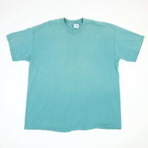 Vtg-Hanes-Plain-Blank-Single-Stitch-TShirt-2XL-Faded-Distressed-Green-90s-Grunge
