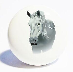 Grey Horse White Home Decor Ceramic Kitchen White Knob Drawer