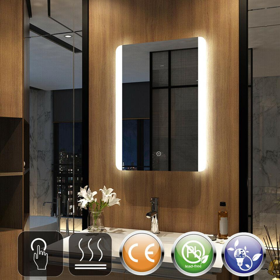 LEDWandspiegelBadspiegelmitBeleuchtungBadezimmerspiegel Touch Beschlagfrei