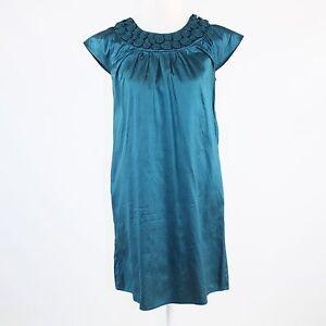 Teal-green-shimmery-100-silk-CALYPSO-St-Barth-cap-sleeve-shift-dress-S