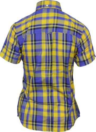 Relco Ladies Yellow Royal Tartan Check Short Sleeve Button Down Collar Shirt