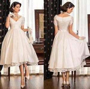 Image Is Loading Simple Short Vintage Wedding Dress Bridal Gown