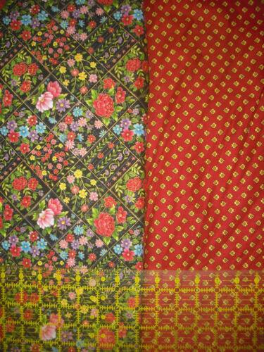 2 YDS Fabri-Quilt Butterfly Floral Garden Diamonds /& Coordinate Quilt Fabric