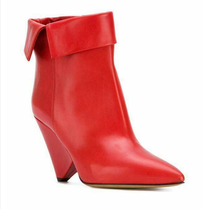 Women Leather Western Cone Heels Ankle Boots Cowboys Pointy Toe Clubwear Shoes