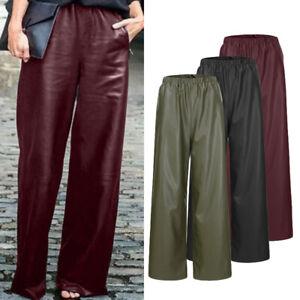 ZANZEA-Femme-Pantalons-en-cuir-Taille-elastique-Loisir-Jambes-larges-Oversize
