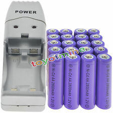 20 AA Purple Rechargeable Batteries NiCd 2800mAh 1.2v Solar Light + Charger