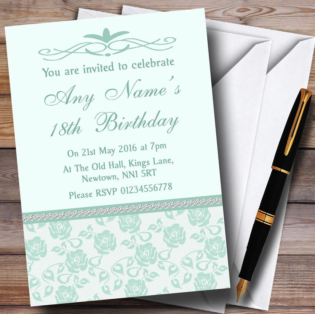 Pretty verde Menta & Sage Floral Diamante Personalizado Fiesta De Cumpleaños Invitaciones