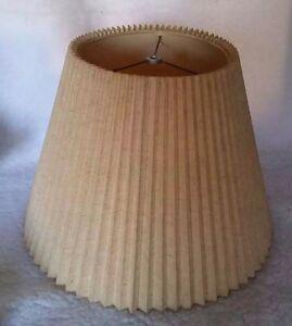 Vintage Mid Century Lamp Shade Pleated Folded Stiff Linen