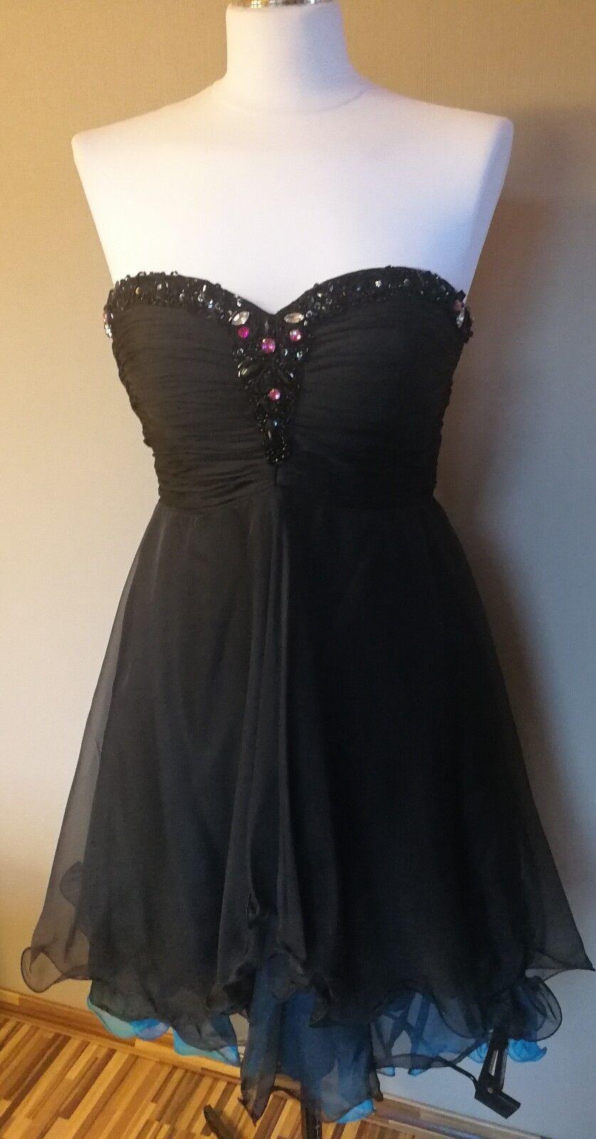 Juju & Christine Kleid Cocktailkleid Abendkleid schwarz Überwurf Gr.2 G. 36-38