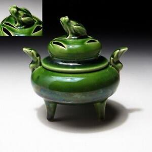 $KK48: Vintage Japanese Pottery Incense Burner, Koro, Seto ware, Frog
