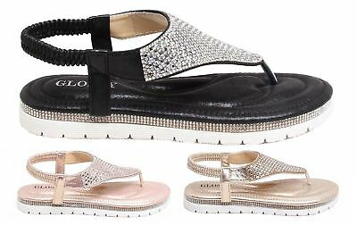 New Womens Diamante Glossy Slip On Casual Sling Back Strap Flat Sandals Shoes