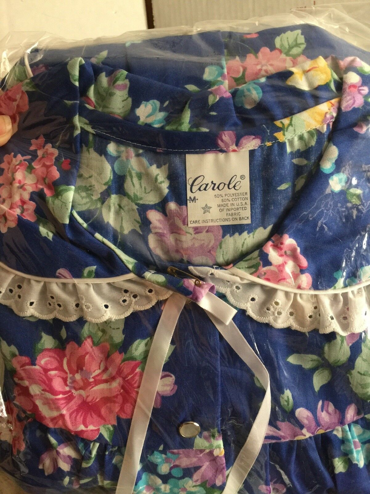 ️Duster Housecoat Royal bluee & Pink Floral Cotton Poly Blend Made In USA
