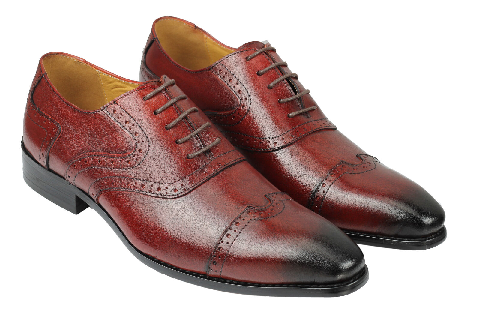Mens Retro Vintage Maroon Real Leather Lace up Smart Formal schuhe 6 7 8 9 10 11
