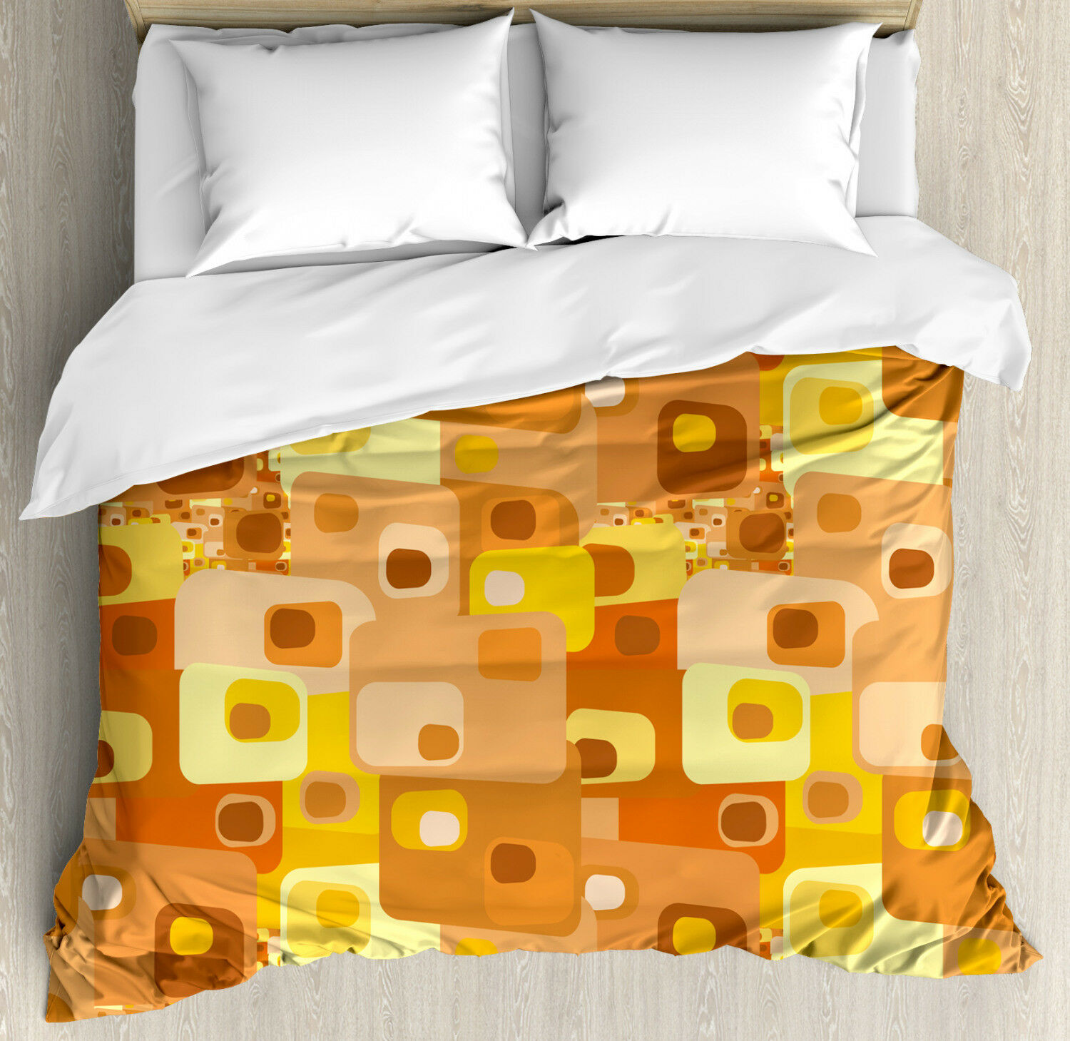 Retro Duvet Cover Set with Pillow Shams Rounded Funky Squares Print