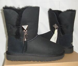 97f87164c3b Details about UGG Lilou Black Bailey Button Charms Suede Short Boots Size  US 5 NIB #1013850
