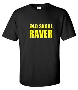 Mens Old School Raver T-Shirt 80`s 90`s Acid House RAVING DJ Music Retro Dance