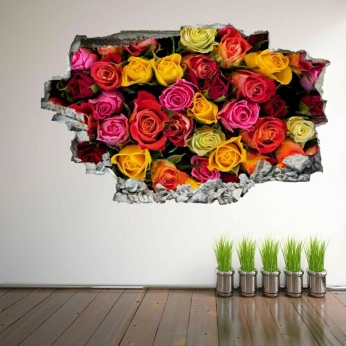 Colourful Roses Flower Decorative Wall Art Stickers Mural Decal Home Decor EP9