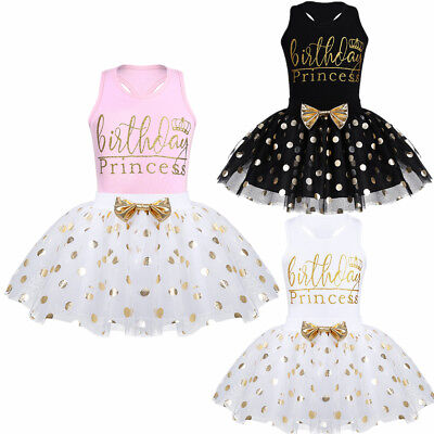 Toddler Girls Dress Kids Birthday Princess Costume Polka Dot Tutu Skirt 2Pcs Set