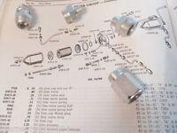 Harley Panhead Oil Filter Fitting Kit Nipples 1950-57 W/ Filter 63525-50