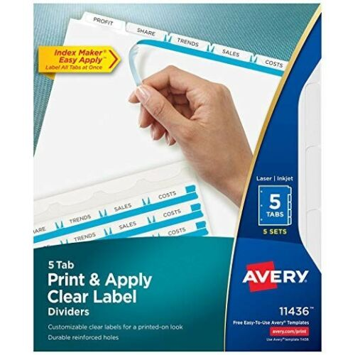 Avery Index Maker Clear Label Dividers with Easy Apply Label Strip #11436