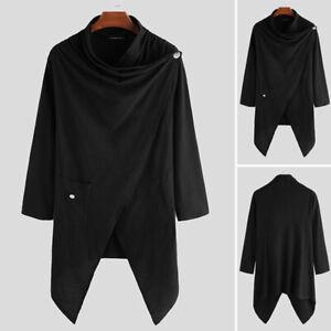 Mens Goth Gothic Punk Long Cardigan Loose Hippie Cape Cloak Coat Kaftan Outwears