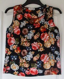 Women-039-s-Black-Silk-vest-top-Blouse-Flower-Print-UK-Size-8-10