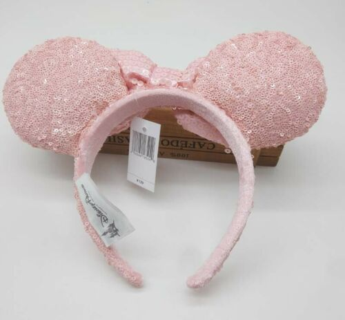 NEW Disney Parks Millenial Pink Sequined Minnie Ears Mouse Ears Headband Rose