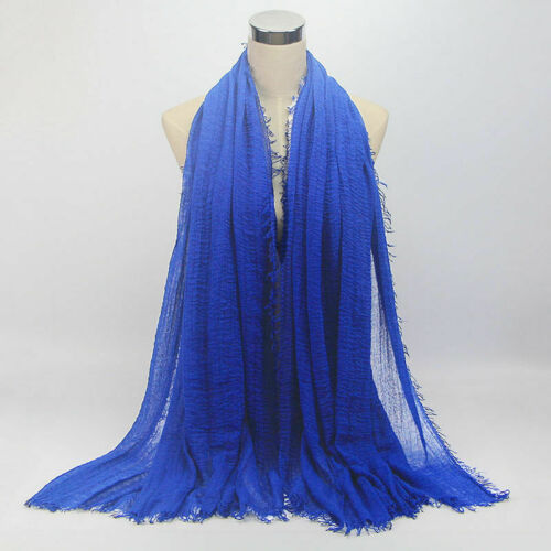 NUOVO stile Plain Hijab Maxi Scialle Sciarpa Velo a crimpare Ruffle PASHMINA Crinkle