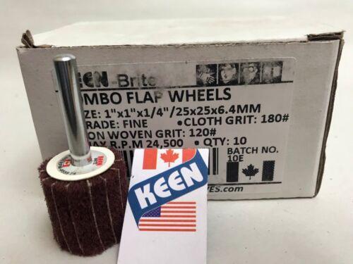 "Box of 10 Fine 1 X 1 X 1//4/"" Shank Interleaved Flap Wheel KEEN Brite 55971"