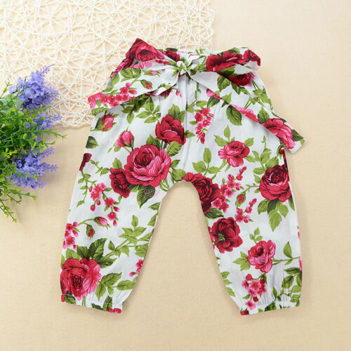 3PCS Newborn Infant Girls Outfits Romper Jumpsuit+pants+Headbands Clothes set