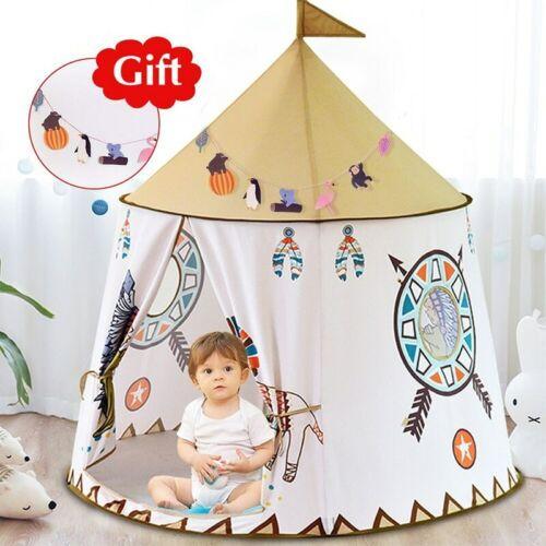 Kid Tent House Portable Princess Castle 123*116cm Present Hang Flag