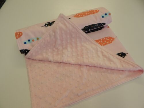 Baby Blanket Feathers on Pink 96cm x77cm Cotton Minkee