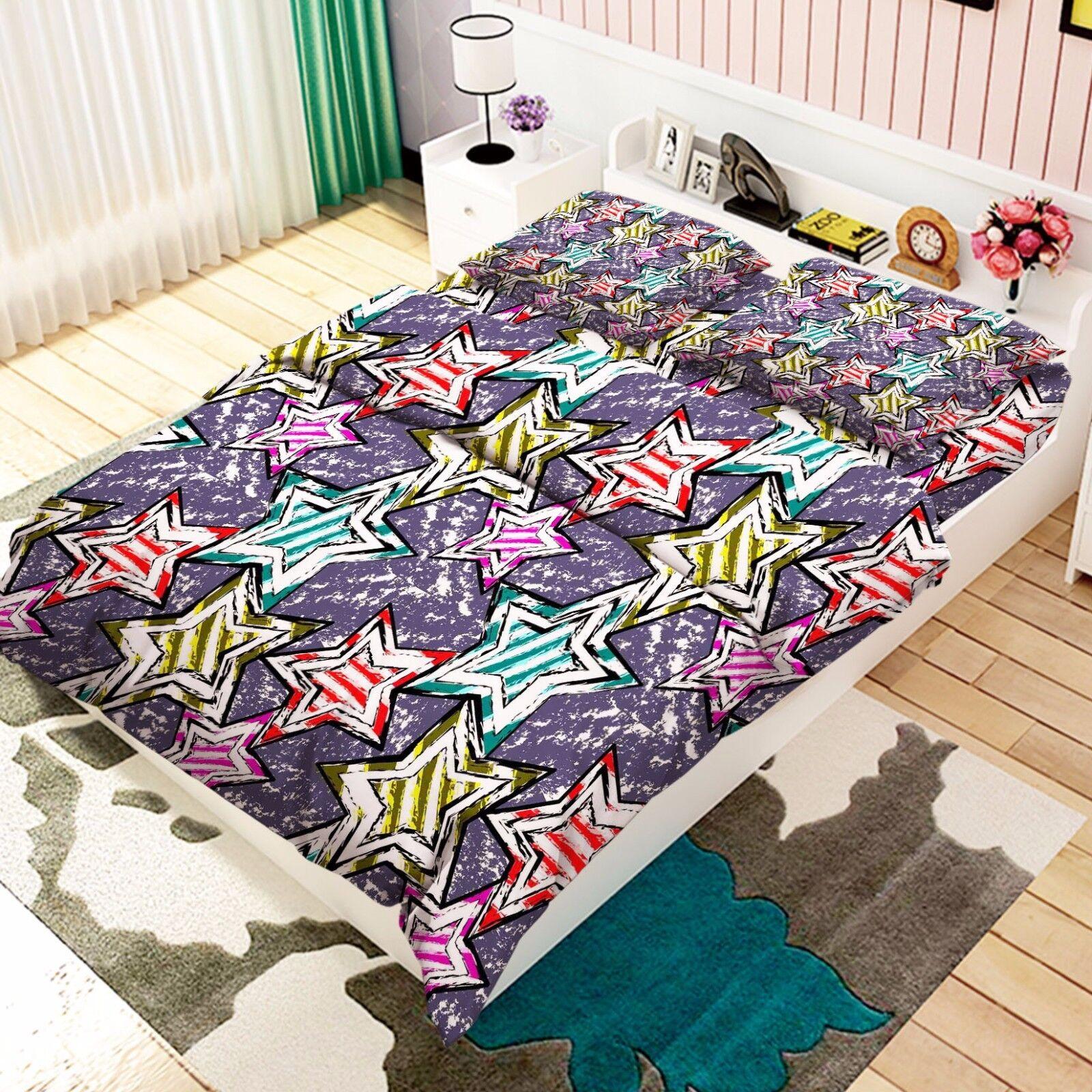 3D Cgoldr Painted Stars 7 Bed Pillowcases Quilt Duvet Cover Set Single Queen AU