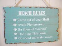 BEACH RULES Wooden Sign Blue Aqua Wall Hanging Home Decor