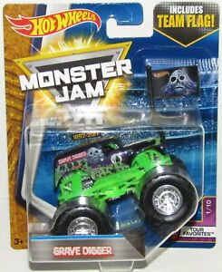 Grave-Digger-Hot-Wheels-Monster-Jam-Team-Flag-1-64-Diecast-Monster-Truck-NEW
