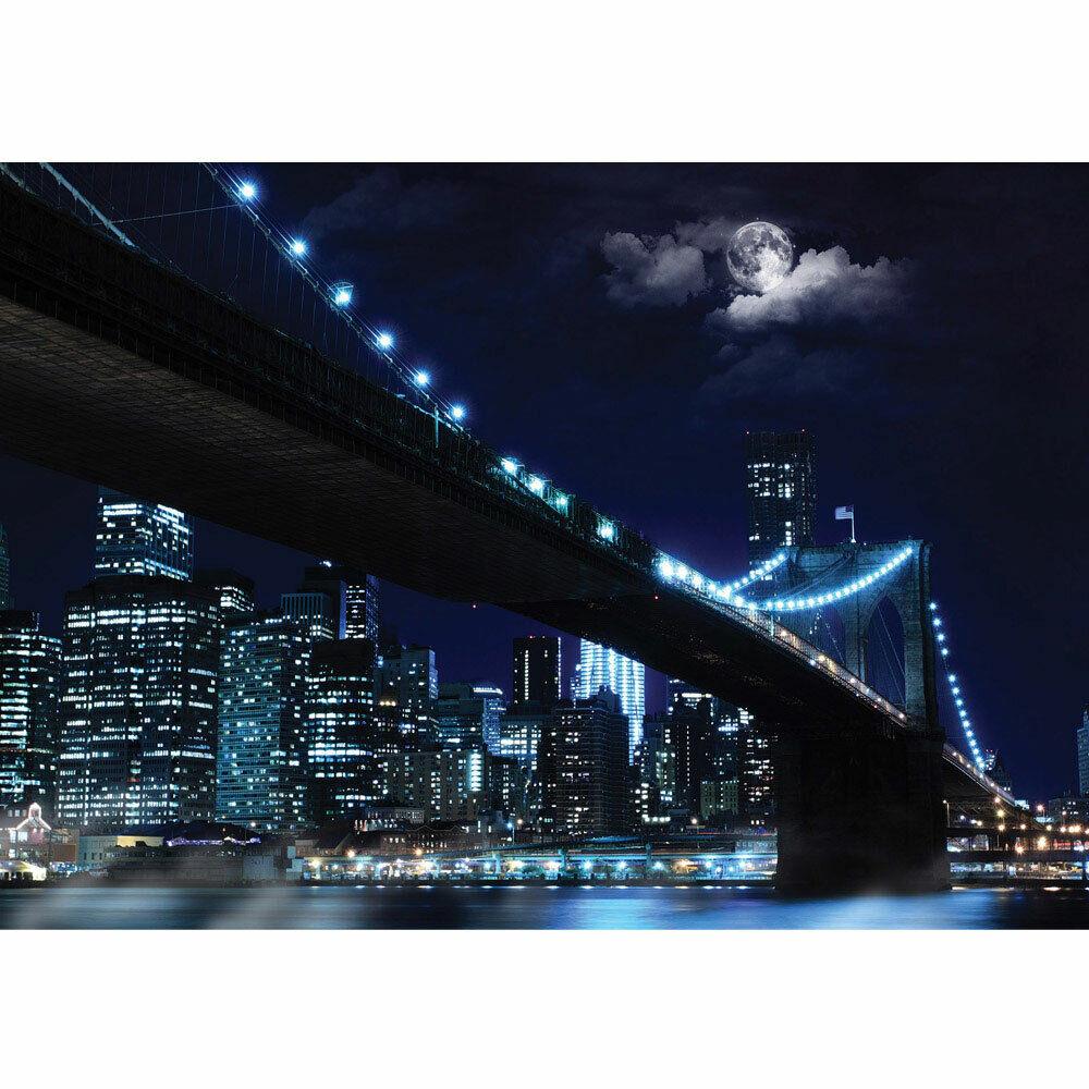 Fototapete Brooklyn Bridge Manhattan Nacht Skyline Mond liwwing no. 3284
