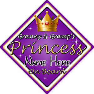 Non Personalised Child//Baby On Board Car Sign ~ Granny /& Grandpas Princess ~Pink