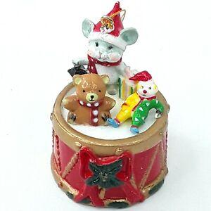 Christmas-figure-ornament-decoration-Teddy-bear-Mouse-Clown-Drum-Plastic-Vintage
