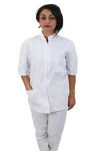Divisa-Completa-da-Lavoro-Bianco-Zip-Collo-Coreano-COTONE-ESTETICA-INFERMIERA