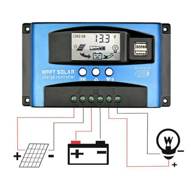 MPPT Solar Panel Regulator Battery Solar Charger Controller 12/24V With LCD USBE