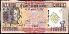 2010 GUINEA 1000 FRANCS BANKNOTE * JT 783483 * aUNC * P-43 *